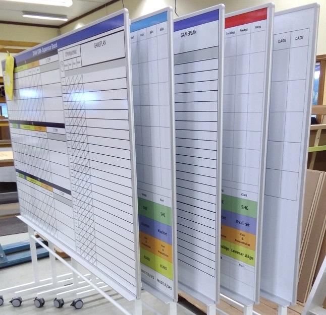 4. Planeringstavlor på rullstativ. Skrivbara planeringstavlor, format efter kundens önskemål, t ex Pulstavla, Processkarta, Flödesschema, Daglig styrning, Resultat eller Planering.